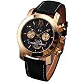 KS Golden Tourbillon Automatic Mechanical Black Leather Mens Watch KS021