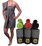 Microfiber Sports, Gym, & Fitness Towel | FREE BONUS Small Hand Size With Large | Extra Compact for Beach, Hiking, Camping & Travel | Dries Faster at Pool & Golf | by SunActive