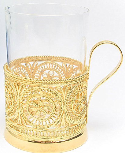 Russian Filigree 24Kt Gold Plated Tea Glass Holder With Glass