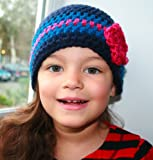 Crochet pattern vintage inspired crochet beanie with flower (37) includes 4 sizes from newborn to adult (Crochet hats) Luz Mendoza