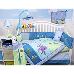 SoHo Deep Sea Aquarium Baby Crib Nursery Bedding Set 13 pcs included Diaper Bag with Changing Pad & Bottle Case