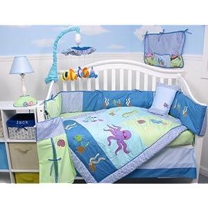 SoHo Deep Sea Aquarium Baby Crib Nursery Bedding Set 13 pcs included Diaper Bag with Changing Pad & Bottle Case