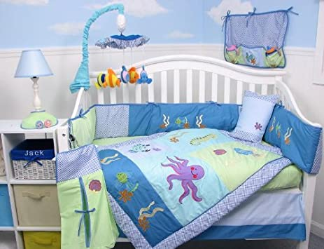 Good SoHo Deep Sea Aquarium Baby Crib Nursery Bedding Set pcs included Diaper Bag with Changing