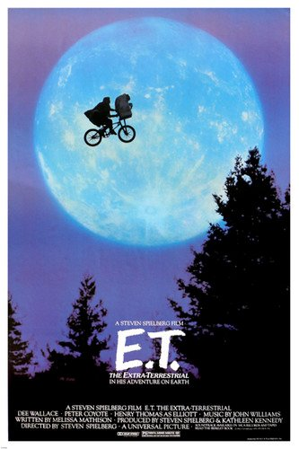 classic STEVEN SPEILBERG movie poster ET riding bike across the MOON 24X36 (Movie Posters compare prices)