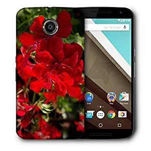 Snoogg Red Floral Designer Protective Phone Back Case Cover For Motorola Nexus 6