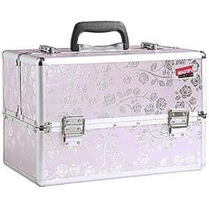 Beautify- Malette cosmétique professionnelle en Aluminium de couleur Rose