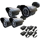 iSmart CMOS 4 IR Bullet Security Outdoor Weatherproof 700TVL CCTV Surveillance Camera with 4 BNC Cables & power adapter