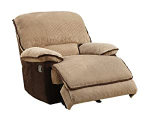 Homelegance 9717-1 Upholstered Glider Recliner Chair, Brown and Dark Brown Corduroy Fabrics