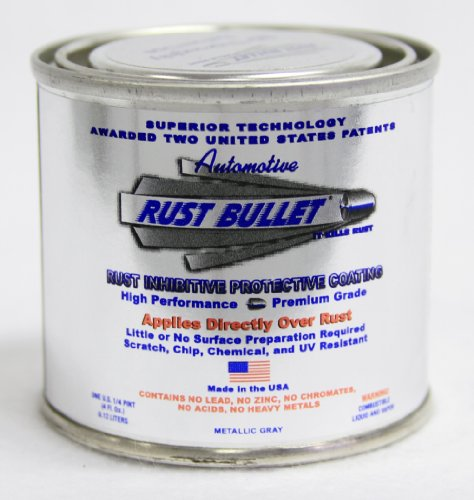 Rust Bullet RBA49 Automotive Rust Inhibitor Paint, 1 4 Pint Metal Can, Metallic Gray