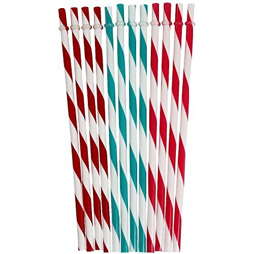 Chinashow 36 PCS BPA-Free Reusable Plastic Thick Drinking Straws Mason Jar Straws Stripe Mix Color (Plastic Color Mason Jars compare prices)