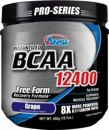 ANSI Instantized BCAA 12400 Powder (450g) - 8X more powerful 8:1:1 Leucine Formula - Grape by ANSI