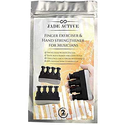 Guitar Hand Exerciser Strengthener - 2 Pack - Premium Quality Portable Exerciser for Guitar, Piano, Violin - Perfect for Musicians - Train Both Hands Simultaneously