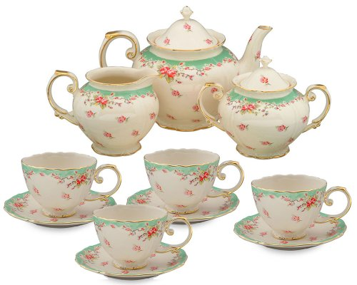 Read About Gracie China Vintage Green Rose Porcelain 11-Piece Tea Set, Green