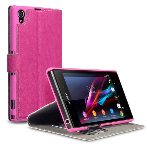 Sony Xperia Z1 Low Profile Faux Leather Wallet Case with Viewing Stand - By Covert (Hot Pink) (does not fit Sony Xperia Z1S)