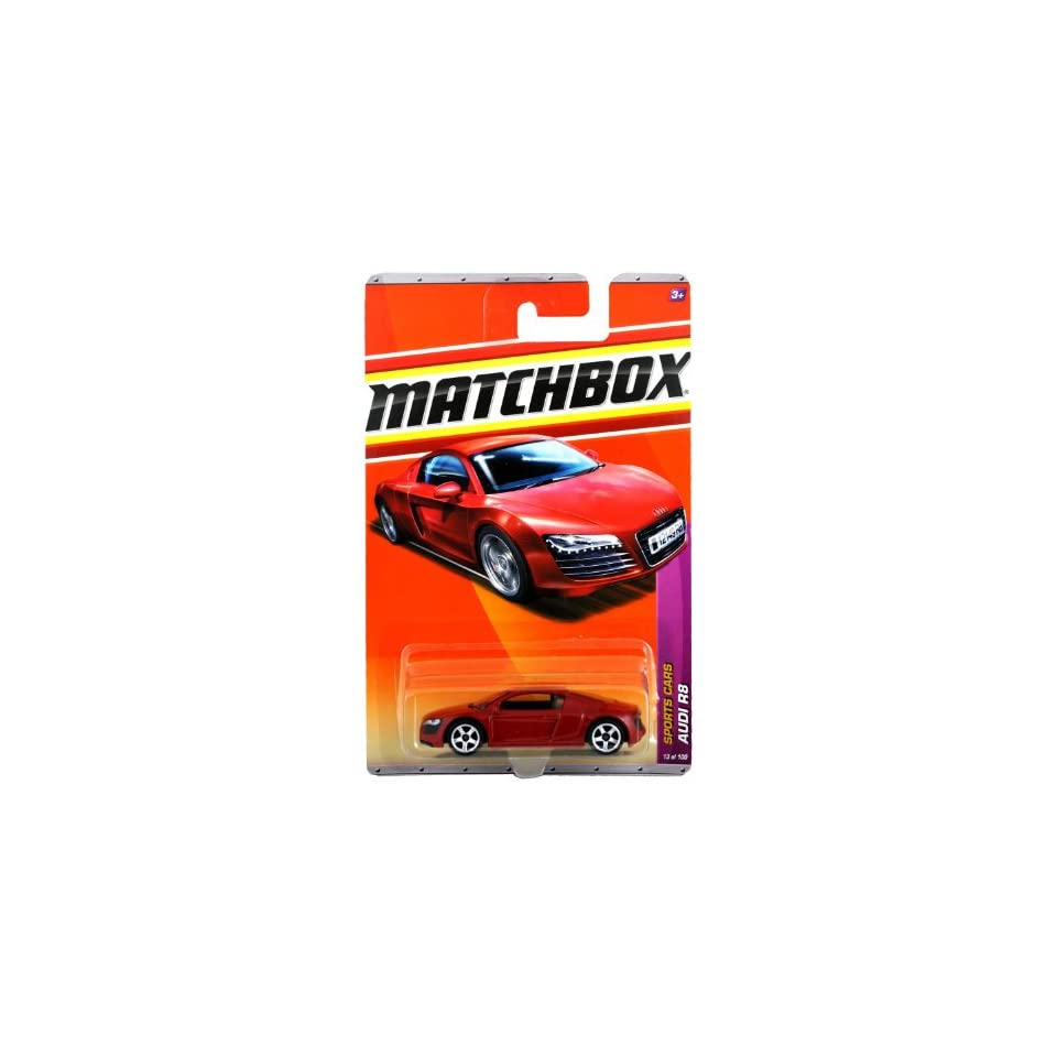 Mattel Year 2010 Matchbox MBX Sports Cars Series 164 Scale Die Cast Car #13   Mid Engine All Wheel Drive Red Sport Car AUDI R8 (T8920)