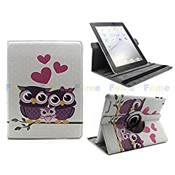 FOME 360 Degrees Rotating Multi-function Protective PU Leather Flip Case Cover For iPad 2 3 4 Pink Dot/owl/love heart + A FOME Gift
