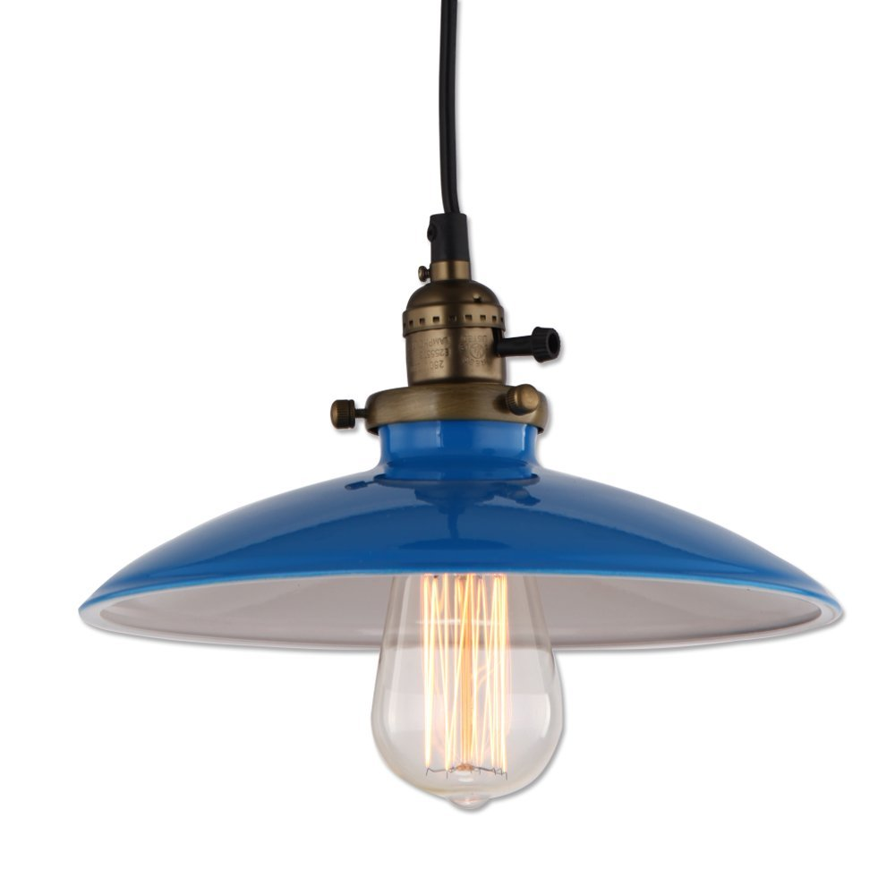 JEMMY HO Metal Pendant Light Dia 10 Inches Mini Vintage Industrial Barn Pendant Lamp (Blue) 0