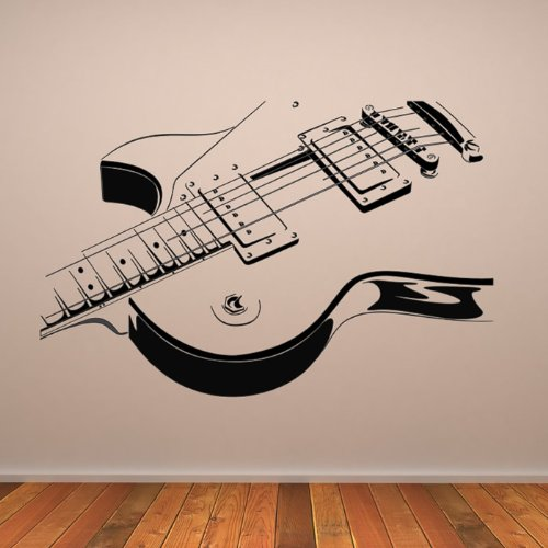 Electric Guitar Wall Stickers Music Wall Decal Art Available In 5 Sizes And 25 Colours Small Black