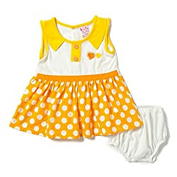 Camey Girls Yellow 2 Hearts Frock Set (9-12 months)
