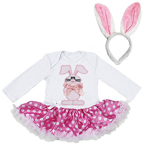 Baby Easter Bunny Polka Dots Bodysuit Pettiskirt Ears Headband 2pcs Set
