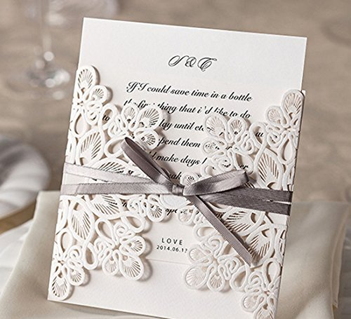 WISHMADE 50 Count Luxury Elegant Laser Cut Invitations Cards Kits White Printable for Wedding Birthday Baby Shower Bridal Shower with Ribbon and Envelopes 1