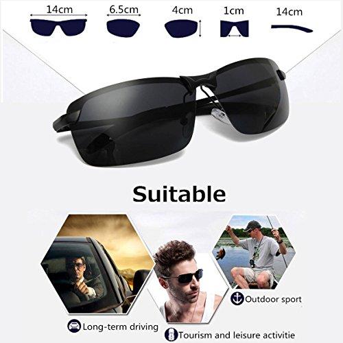 CAMTOA UV400 polarizzato gli occhiali da sole di guida all'aria aperta Occhiali sportivi Occhiali Eyewear Uomo nero