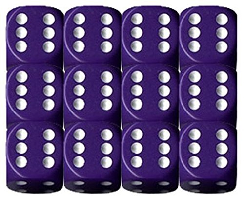 Chessex Dice d6 Sets: Opaque Purple with White - 16mm Six Sided Die (12) Block of Dice