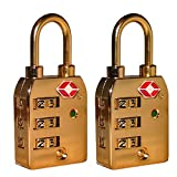 2 x High Security 3-Dial TSA Combination Luggage Locks With SEARCHCHECK (GOLD)by Tripneeds