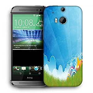 Snoogg Abstract Blue Printed Protective Phone Back Case Cover For HTC One M8