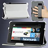 MoKo Slim-fit Cover Case for Google Nexus 7 Android Tablet by Asus, WHITE (with Automatic Sleep/Wake Function, and Elastic Hand Strap)