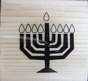 Craft Smart Wood Base Rubber MENNORAH Stamper: Jewish Menorah Stamp