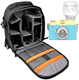 DURAGADGET Premium Quality, Water-Resistant Action Camera Rucksack / Backpack with Customizable Interior & Raincover for the Lomography Diana F+