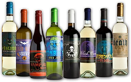 Halloween Glow In The Dark Wine Bottle Label Stickers (8 Labels)