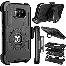 Note 5 case, iTronic Galaxy Note 5 hybrid dual layer combo armor defender protective case with kickstand and belt clip for Samsung Galaxy Note 5 (Black)