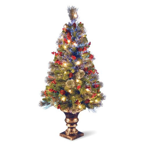 Fiber Optic Crestwood Spruce Tree with Decor In Gold Pot - 4 Foot