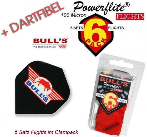 Bulls Flightset 6-Pack Powerflite 100 Micron schwarz mit Bulls Zeichen