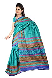 RGR Enterprice Woman's Bhagalpuri Designer Saree (BLUE MANGO_Multi-Coloured_Free Size)