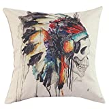 2015 New Printing Cushion Cover Watercolor Skull Headdress Pillow Cover Sofa Cover Decorative Pillows American Indian