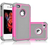 iPhone 5S Case, Tekcoo(TM) [Tmajor Series] [Pink/Grey] iPhone 5 5S Case Shock Absorbing Hybrid Best Impact Defender Rugged Slim Cover Skin Shell w/ Hard Plastic Outer & Rubber Silicone Inner