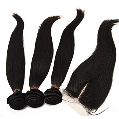LaNova-Beauty-Cheap-Hair-ExtensionsSliky-Straight-Hair-Extention-3pcs-12inch-26inch-and-1pc-Lace-Closure-44-10inch-20inch-Natural-Color4pcslot