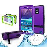 Note 4 Case,Galaxy Note 4 Waterproof Case,Nancy's Shop **New** Fashion [Kickstand Feature] IP-68 Waterproof Shock proof Snow proof Dust proof [Built-in Screen Protector] Rugged Hard Armor Protection Case Cover for Samsung Galaxy Note 4 IV with 1 Screen Protector and 1 Clean cloth (Purple)