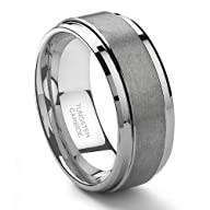 9MM Tungsten Carbide Men's Wedding Band Ring in Comfort Fit and Matte Finish Size 7-13.5
