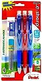 Pentel E sharp 3 Auto Pencils in a Pack 0.7mm Free White Eraser