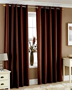 """Eyelet fully lined readymade Faux silk Curtains width 90"""" x Drop 90"""" - CHOCOLATE BROWN"""