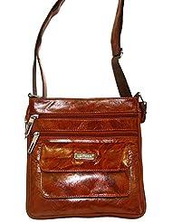 Hugme.Fashion Unisex Sb15 Brown NDM Leather Square Sling Bag- 9 X2.5 X9 Inch