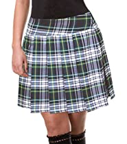 Green and White Schoolgirl Tartan Plaid Pleated Mini Skirt Edinburgh Junior Long Large