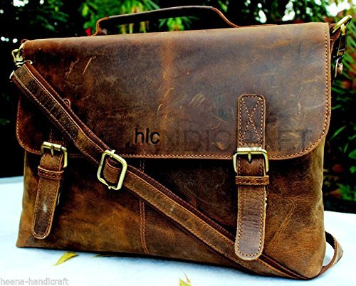Handolederco Rustic Buffalo Hide Leather Messenger Laptop Shoulder Bag for Men and Women 0