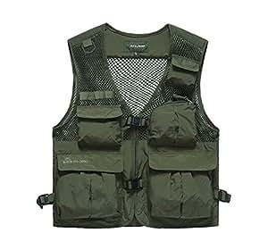 Men 39 s mesh breathable multi pockets fishing for Fishing vest amazon