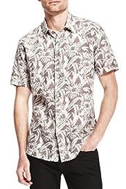 Pure Linen Short Sleeve Floral & Leaf Print Shirt [T25-4394A-S]