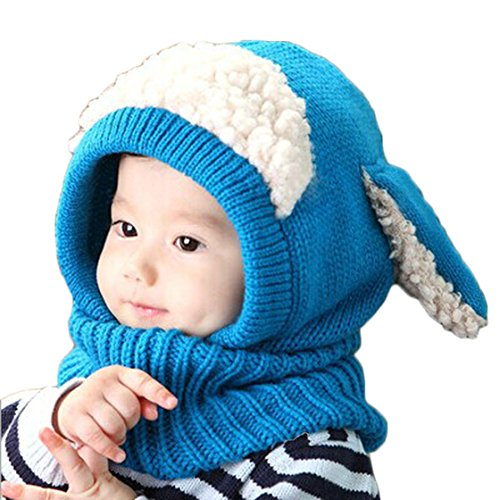 Tenworld Winter Baby Kids Girls Boys Warm Woolen Coif Hood Scarf Caps Hats Cute Hot New (Blue) (Footed Thermal Underwear compare prices)